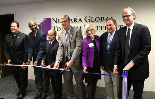 NU and local elected leaders cut the ribbon on the Niagara Global Tourism Institute.