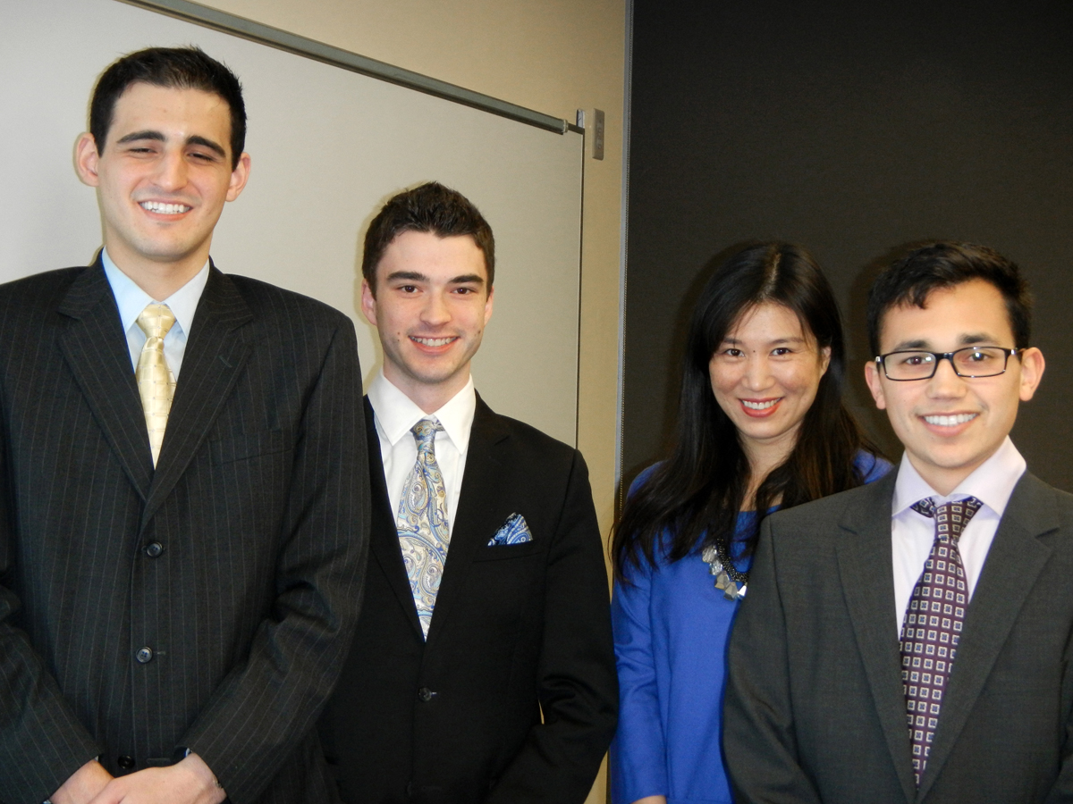 Niagara University students, from left: Peter Pane, Steven Boyle, Ling Zhou and Brandon Gallegos.