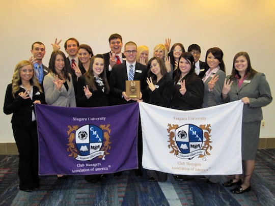 Pictured is the NU Student Chapter of the Club Managers Association of America.