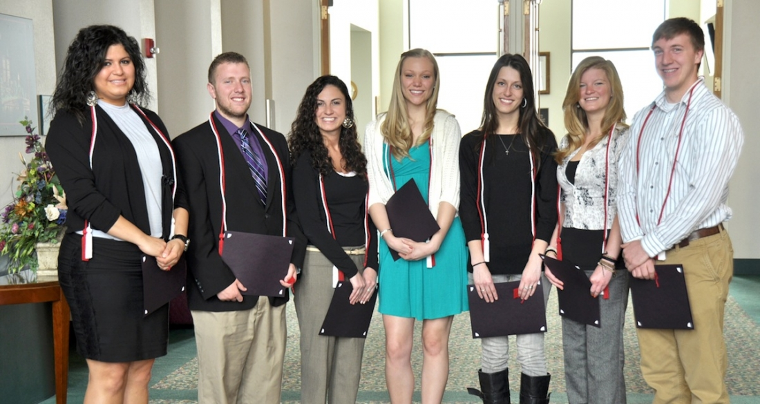 The newest members of Lambda Pi Eta are, pictured from left, Jeannine Alsous, Vince Schiano, Kaitlyn Bayne, Molliann Zahm, Julie Hunt, Alicia Wainwright and Alex DiVirgilio. Kerisa Bonville, Stacey Czerwinski, Sean Farber and Amanda Galster are not pictured.