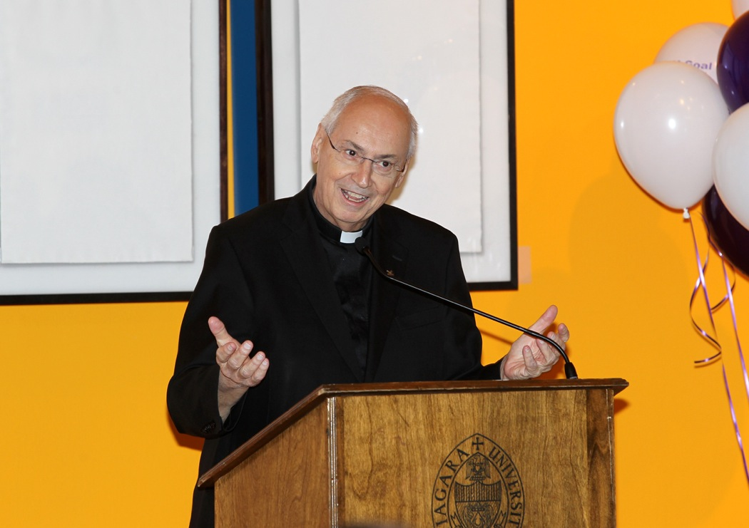The Rev. Joseph L. Levesque, C.M., president of Niagara University, spoke of NU's completed capital campaign at a press conference Tuesday at the Castellani Art Museum.