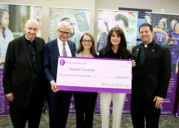 Pictured, from left, are the Rev. Joseph L. Levesque, C.M., NU president emeritus; Robert Engel, '75, Niagara trustee; Levesque Scholarship recipient Emma Bow, '19; Lynda Engel; and the Rev. James J. Maher, C.M., president of Niagara University.