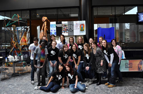 Members of Niagara University's Invisible Children chapter pose for a photo with the organization's East Coast `roadies.` (photo by Sarah Kim, Class of 2011)