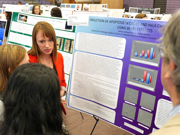 Ashley Jarkowski explains her study on the therapeutic effect of berry extracts on individuals suffering from oral cancer during Niagara University's undergraduate research conference.