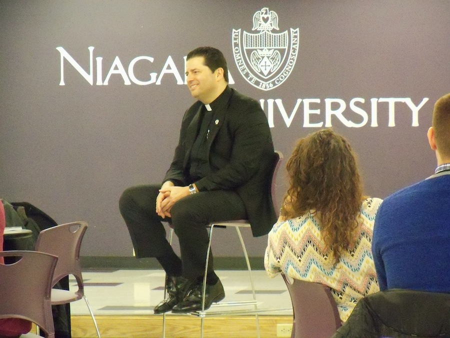 The Rev. James Mahar, Niagara University's incoming president, met with students Wednesday in the Lower Level Gallagher Center. (photo by Suheiri Rodriguez)