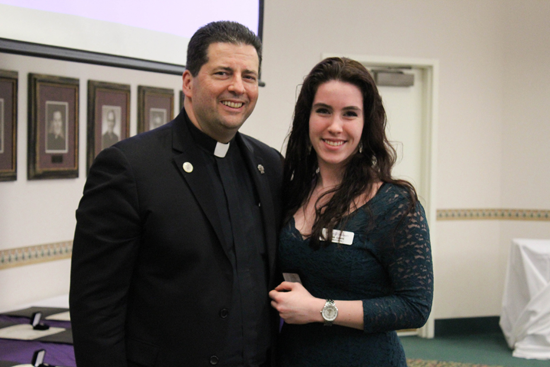 The Rev. James Maher, C.M., Niagara University president, with President's Society inductee Janine Cubello of Youngstown.