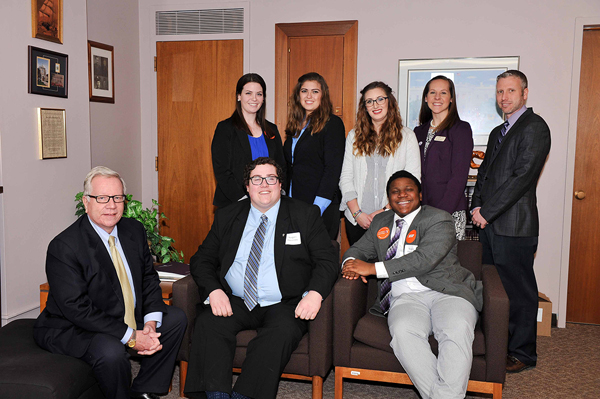 Niagara University students and employees met with Assemblyman Robin Schimminger and several other state legislators during Student Advocacy Day Feb. 14 at the Capitol in Albany.