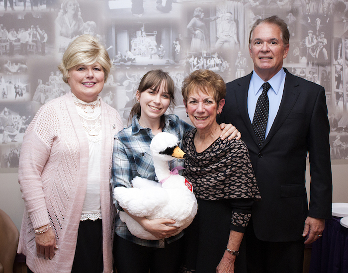 Pictured, from left: Janice Laurie; Tara Laurie Memorial Scholarship for Study Abroad recipient Kathryn Rose Gould; Dr. Sharon Watkinson, chair of Niagara University's theatre department; and Donald Laurie.