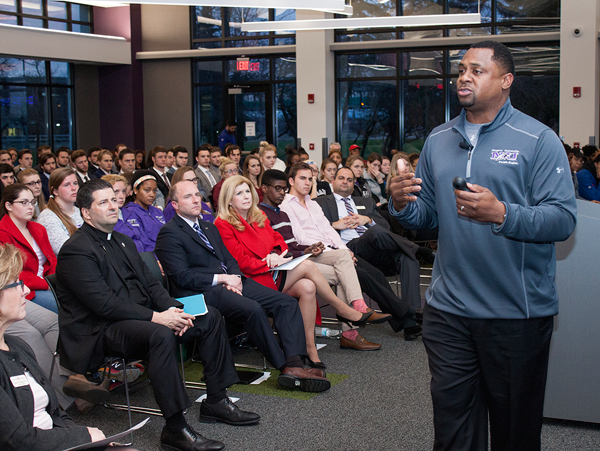 NFL Executive Vice President of Football Operations Troy Vincent addresses the audience at Niagara University on Tuesday.