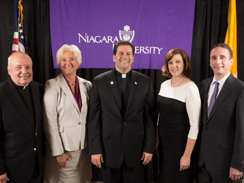 Pictured, from left: Father John S. Sledziona, C.M.; Dr. Judith A. (Skurski) Willard, '70, M.A.'72; Father James J. Maher, C.M.; Lisa (Wasson) Rivera, '95, M.S.Ed.'97; and Craig J. Rivera, Ph.D.