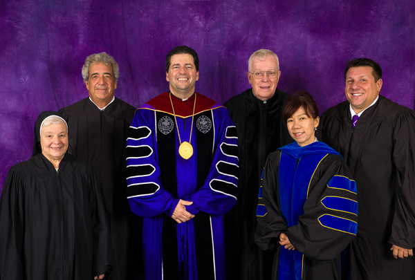 Centered by Niagara University's president, the Rev. James J. Maher, C.M., are 2016 Vincentian Heritage Convocation honorees Sister Mary Johnice Rzadkiewicz, C.S.S.F.; Gary P. Hall; the Rev. John E. Rybolt, C.M.; Peggy Choong, Ph.D.; and Michael J. Skowronski.