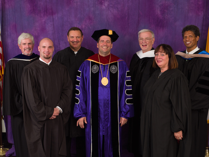 Pictured with the Rev. James J. Maher, NU president, center, are Vincentian Heritage Convocation honorees, from left: David N. Campbell, Derek Puff, the Rev. Stephen M. Grozio, the Rev. W. Barry Moriarty, Kathleen A. Granchelli and Christopher Lee.