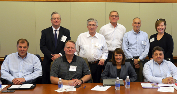 Pictured are several individuals involved with the development of Niagara University's food and consumer packaged goods marketing concentration. From left: Drew Cerza, Dr. Paul Richardson, Robert Denning, Robert Castellani, John Zimmerman, Jamie McKeon, Bob Ferretti, William Chiodo and Cathleen Anderson.