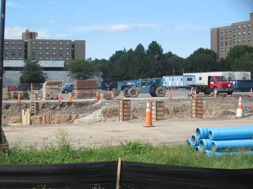 Construction is under way on Niagara University's new science building, which will lie in the main parking lot. (photo by Lauren Merrick)