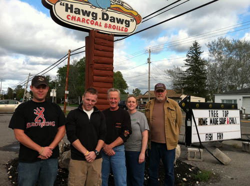 The Niagara University Student Veterans Association hosted a recent meet and greet at Dave's Last Chance Saloon in Lewiston. Shown in the photo are Andy Rodems, association president; Jeff Laughlan, vice president; Ronnie Vigue of Dave's Last Chance; Nadine Addenbrooke, spokesperson of the Stella B Foundation; and Ed Jackson, association member. (photo by Lynn Zanardi)