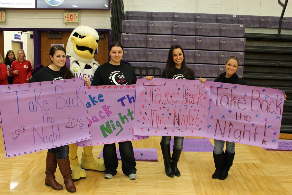 Niagara University students participate in Take Back the Night events on campus.
