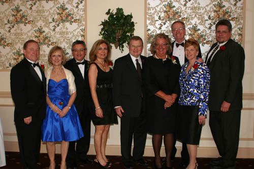 From left, the 2011 Spirit of Niagara University Theatre Award honorees: William and Pamela LeCuyer, Michael C. Arena ('77), Maria Arena, John R. Sanderson ('75), Karen L. Sanderson ('75), Arthur V. Traver Jr. ('69), Barbara Traver ('69) and Jack Wrobel.