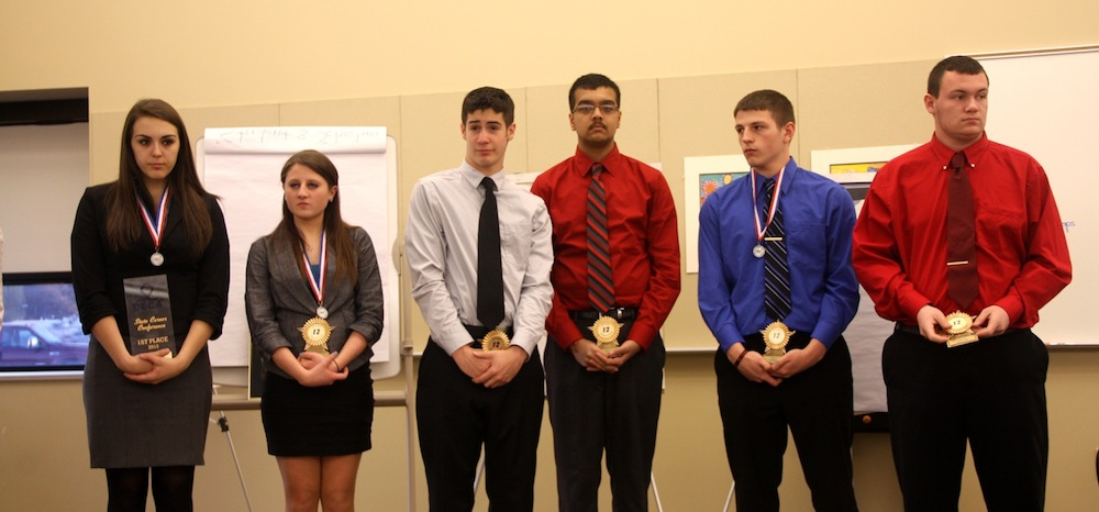 Niagara-Wheatfield DECA award winners, shown from left, are Kayla Maggiore, Jenna Hussey, Dan Miera, Mohit Gogna, Cory Evans and Joe Yanulevich.