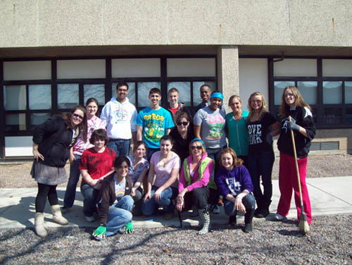 Students at Niagara-Wheatfield Senior High School formed a crew to clean and spruce up the school courtyards for end of the year events.