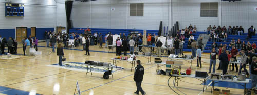 A view of the Tech Wars tables and battle arena at Niagara County Community College.