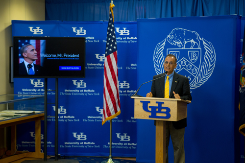 UB President Satish K. Tripathi announces President Barack Obama will visit UB on Aug. 22.