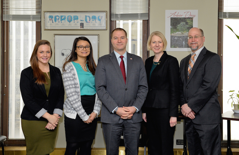 Pictured from left to right: SUNY Brockport student Kelly Valente of Mottville, SUNY Brockport student Mariel Rivera of Webster, State Sen. Rob Ortt, SUNY Brockport President Dr. Heidi Macpherson and SUNY Brockport Chief Communications Officer David Mihalyov.