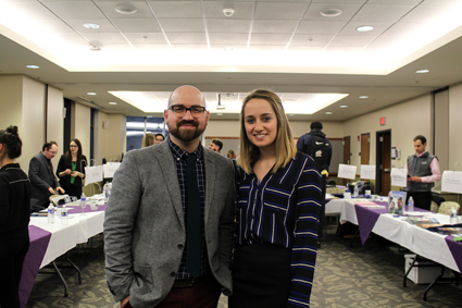 Jennifer Gallo, president of PRSSN, stands with Dr. Joseph M. Sirianni, assistant professor in the department of communication studies and PRSSN adviser.