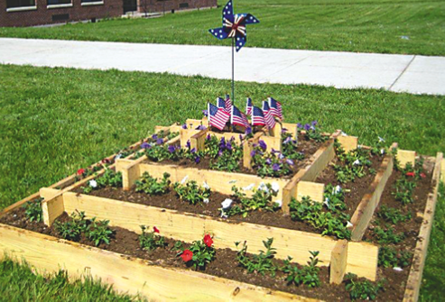 The finished patriotic garden on the Lew-Port campus.