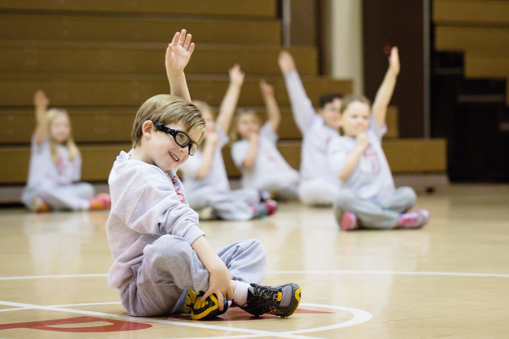 Student Charlie Jorgensen is pictured in gym class at St. Peter's R.C. School, where Spanish, library, physical education, art, music, technology and religion are taught at all grade levels, including pre-K. (Photo courtesy of Vita Bella Photography)