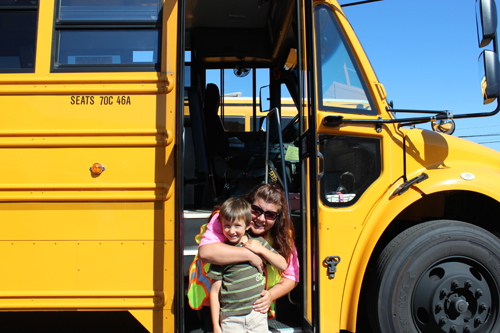 Shown are Niagara-Wheatfield Central School District bus driver Lisa Torcasio with her son, Aiden Aldred, who will be starting kindergarten this school year.