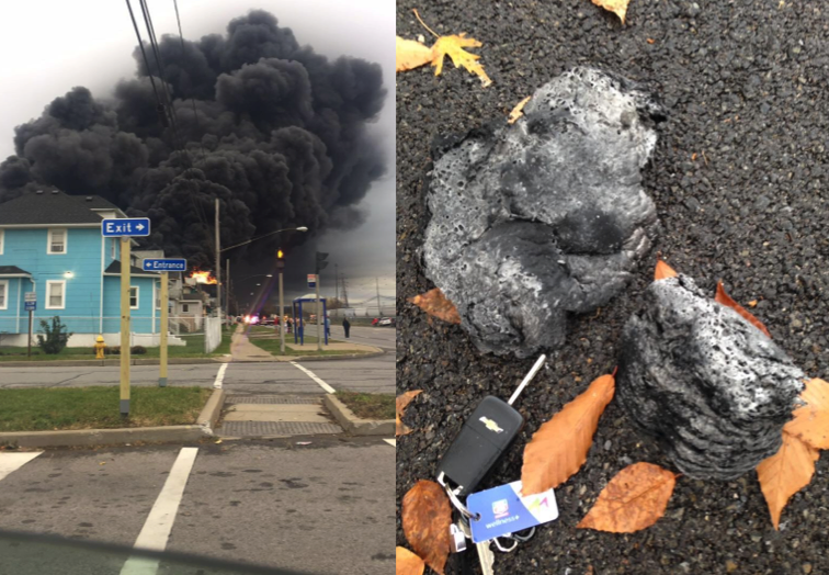 Pictured, from left, a view of the burning steel plant from the entrance of Bethlehem Park and Route 5. And, large pieces of ash that fell from the cloud of smoke were as big as a pair of keys. (Photos by Kevin Trala and Rose Glenn.