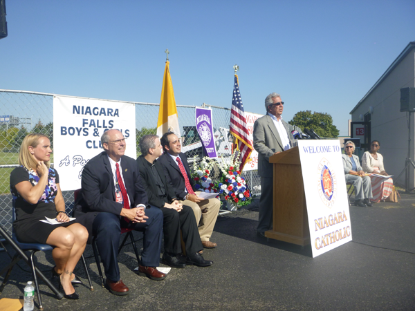 Gary Hall, president and CEO of Waste Technology Services of Lewiston and president of The Niagara board of trustees, speaks Thursday at the groundbreaking ceremony for The Niagara community center behind Niagara Catholic Junior-Senior High School in Niagara Falls.