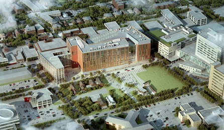 HOK, a global design, architecture, engineering and planning firm's design rendering of the future UB medical school. At more than a half-million gross square feet, the steel-framed building will be one of the largest constructed in Buffalo in decades.