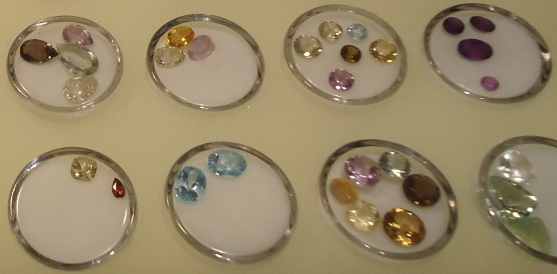 A picture of some of the jewels on display at the Little Yellow Artisan House in Lewiston.