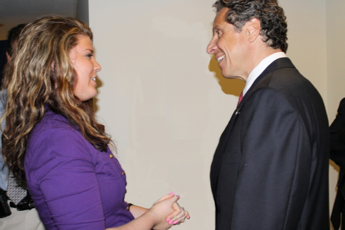 Legislator Brittany Catchpole speaks with New York Gov. Andrew M. Cuomo.