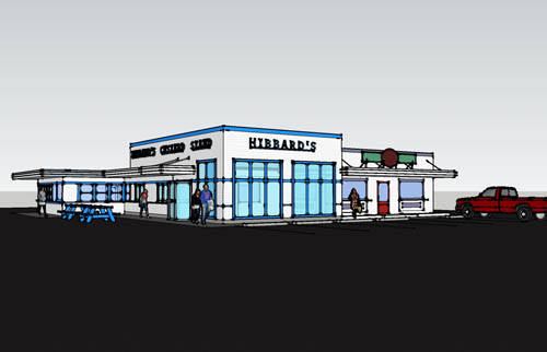 A sketch of the `new` Hibbard's Original Frozen Custard, which is set to open this summer. (photo design by Giusiana Architects & Engineer)