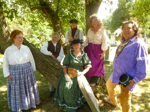 Among the Marble Orchard players taking parts in the debut of `Marble Orchard: The Spirits of 1812` at the Hennepin Park Gazebo in Lewiston, from left, are Sandra Maslen, Jerry Mosey, Brodie McPherson, Bonnie Clark, Kathryn Serianni and Jay Clause.