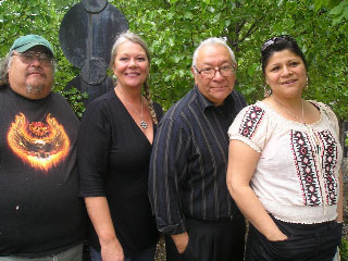 Shown above, from left, are Erwin Printup (artist), Eva Nicklas (Lewiston Council on the Arts), Allan Jamieson (Neto Hatinakwe Onkwehowe) and Jill Clause (Thunderbird Tipi Village). In the photo below is Adriane, a Native American dancer.