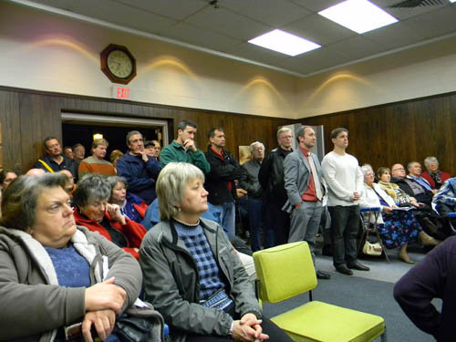 Visitors overflowed into the hallway at Thursday's Town Hall public hearing on the budget to vent their concerns, mainly on the Modern proposal.