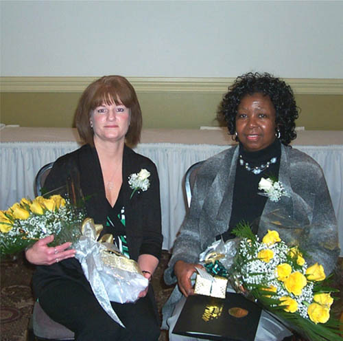 Phyllis Giles, C.N.A., at Our Lady of Peace, at right, and Debra Pollow, R.N., at Mount St. Mary's Hospital, were recently cited as employees of the year from their respective organizations. Giles transferred to Our Lady of Peace after working at the now-closed St. Mary's Manor. Pollow has worked in numerous units of Mount St. Mary's and currently works in the ambulatory surgery PACU recovery area.