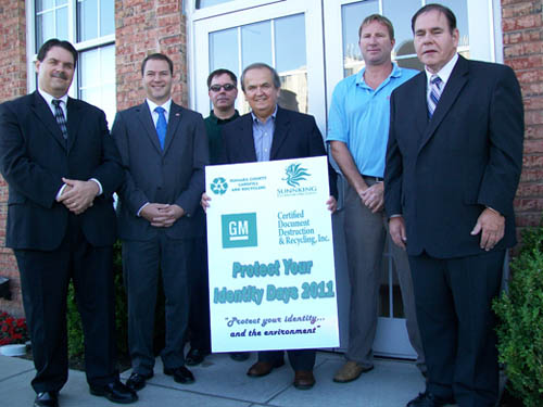Pictured from left: City of Lockport Mayor Mike Tucker, North Tonawanda Mayor Robert Ortt, Randy Coons of Certified Document Destruction & Recycling Inc., State Sen. George Maziarz, Sunnking President and CEO Duane Beckett and Niagara County Legislator Wm. Keith McNall.