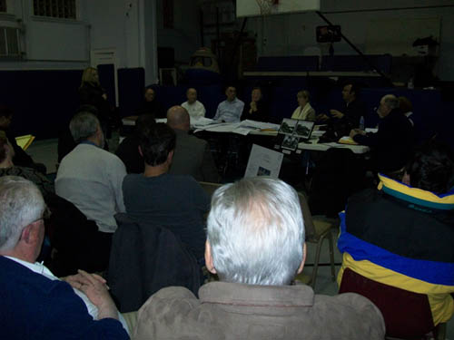 Residents filled the Red Brick Municipal Building gym Monday for the Village of Lewiston Planning Board meeting. (photo by Joshua Maloni)
