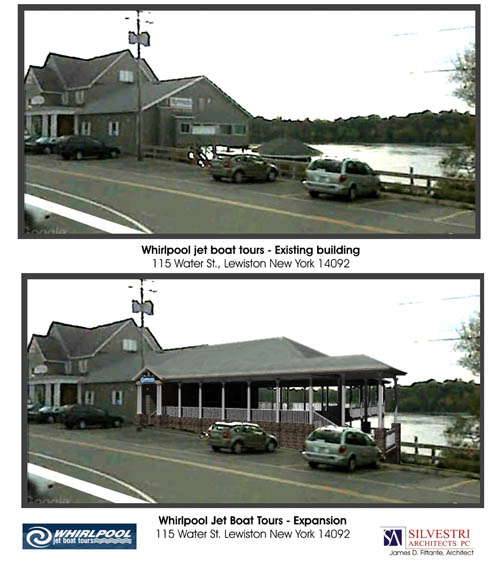 Shown is a view of the restaurant now, and a proposed expansion. (drawing courtesy of Silvestri Architects)