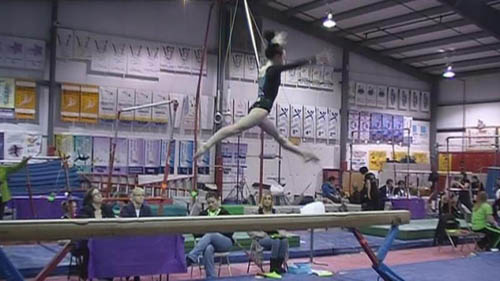Samantha Peterson on the beam.