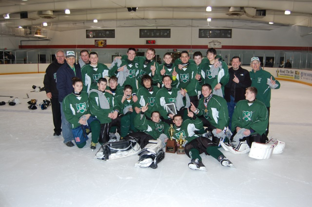 Lewiston-Porter's JV Club Hockey Lancers, winners of the first-ever Cheektowaga Christmas JV Tournament. In the front row (left to right), Ryan Lasky and Joe DeMunda. Shown kneeling (left to right), Jillian Koop, Mike Laurendi, Sean Richardson, Emmett Mahar, Mike Mokhiber, Justin Nichols, Joe Laurendi and Callum Knight. Standing (left to right), Frank Fracassi, assistant coach; Alex Kovtunov, assistant coach; and Frankie Fracassi, assistant head coach; players: Robert DiBacco, Dan Hogan, Joe Hinkle, Chris Harvey, Matt Schiavi, Scott Meogrossi and Joe Cecconi; Dave DiBacco, franchise holder; and Dave Woodley, head coach.