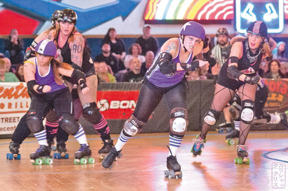 A 2014 roller derby match between the Alley Kats and the Devil Dollies. (photo by Chris Kalisiak/Queen City Roller Girls)