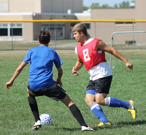 Sam Colao is one of 22 Grand Island Vikings working out in preparation for the soccer season that begins today at Sweet Home. (photo by Larry Austin)
