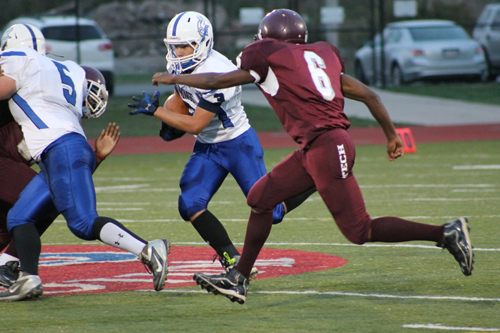 Danny Blocho had two touchdowns and 108 yards rushing for Grand Island in a 24-6 win over Hutch Tech at All-High Stadium last Friday night. (photo by Larry Austin)