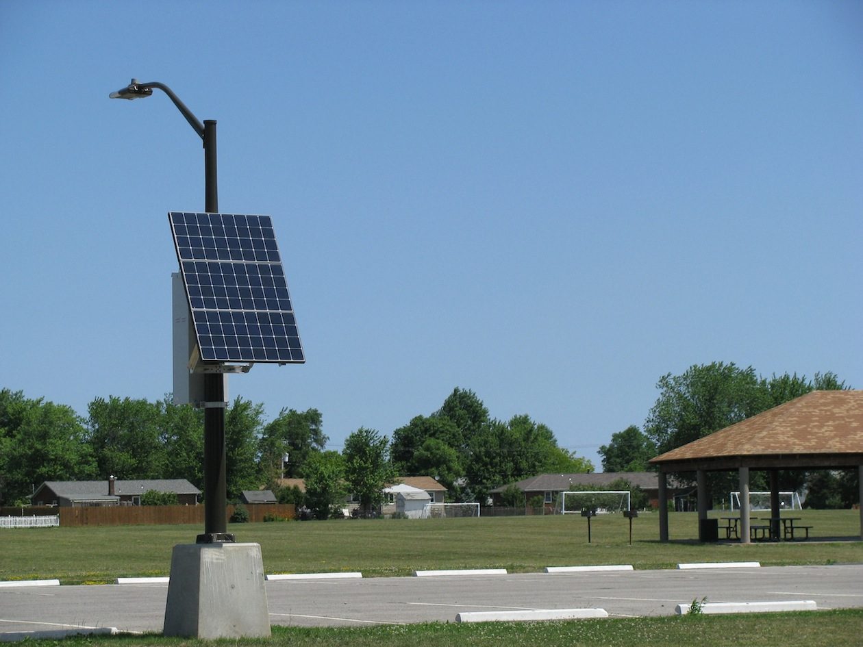 The $400,000 project to install solar LED lights at Veterans Memorial Park on Lockport Road is now complete. A second payment totaling $63,517 to O'Connell Electric Co. was among items approved by the Town Board on Tuesday. The project was paid for by the town's New York Power Authority funds. (photo by Susan Mikula Campbell)