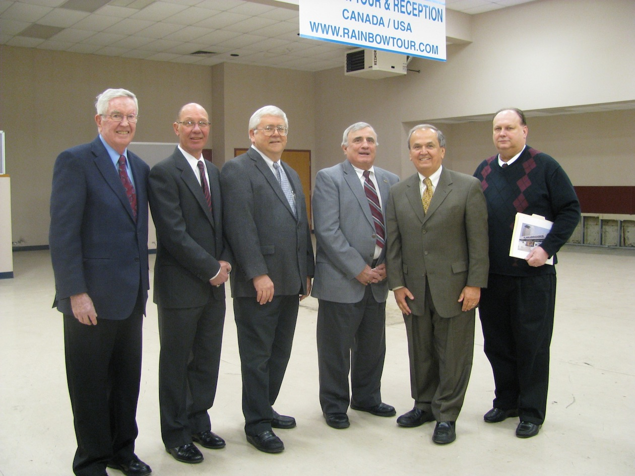 Pictured from left are Hugh M. Neeson, development director of the Niagara Aerospace Museum; Town of Niagara Councilman Danny Sklarski; Wheatfield Supervisor Bob Cliffe; Niagara County Legislature Chairman Bill Ross; State Sen. George Maziarz; and Paul Faltyn, curator and vice president of the Niagara Aerospace Museum Board of Trustees. (photo by Susan Mikula Campbell)